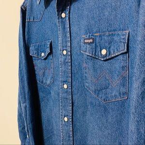Vtg Wrangler Pearl Button Up Western Jean Shirt